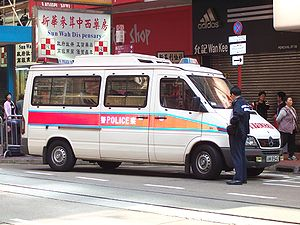 Law enforcement in China - A Mercedes-Benz Sprinter police patrol van in Hong Kong.