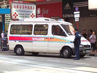 Law enforcement in China - A Mercedes-Benz Sprinter police patrol van in Hong Kong.