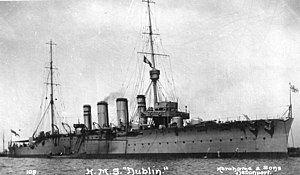 John Kelly (Royal Navy officer) - The cruiser, HMS ''Dublin'', commanded by Kelly during the First World War