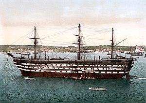 HMS Howe (1860) - Image: HMS Impregnable c 1900