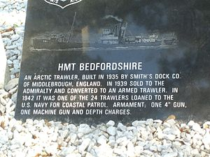Torpedo Alley - A plaque on Ocracoke Island commemorating those killed on HMT Bedfordshire.