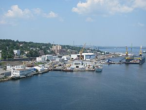 Halifax Shipyard - Halifax Shipyard viewed from the Macdonald Bridge in 2013, before expansion.