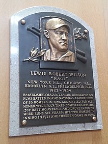 Plaque of Hack Wilson at the Baseball Hall of Fame Hack Wilson plaque.jpg