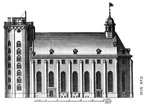 Rundetaarn - Rundetaarn. Illustration from the architect Laurids de Thurah's Hafnia hodierna of 1748.