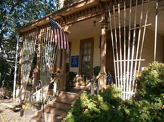 Hale-Whitney Mansion - Front porch of manion bedecked for Halloween 2011