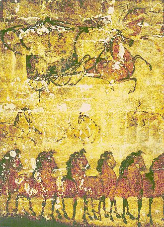 Wuhuan - Mural depicting horses and chariots from the tomb of an Wuhuan official and military commander from the Eastern Han Dynasty in Inner Mongolia.
