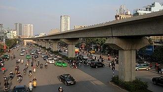 Hà Đông - A metro line running above an avenue in Hà Đông