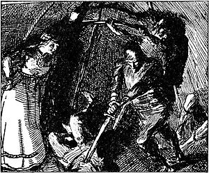 Gunnhild, Mother of Kings - Gunnhild convinces Eric Bloodaxe to kill the Finnish wizards. From an illustration by Christian Krohg.