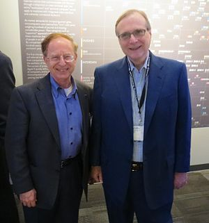 Living Computers: Museum + Labs - Harry Garland and Paul Allen at an event honoring computer pioneers at the museum in April 2013