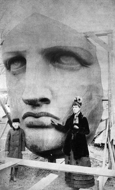 Unpacking of the face of the Statue of Liberty, which was delivered on June 17, 1885 Head of the Statue of Liberty 1885.jpg