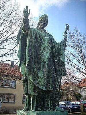 Hildesheim, Domhof, Statue of Bernward of Hild...
