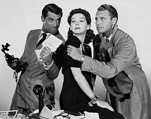 His Girl Friday - Cary Grant, Rosalind Russell, and Ralph Bellamy in a promotional picture for the film.