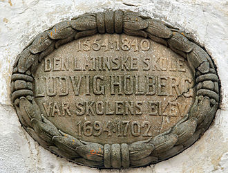 Bergen Cathedral School - This plaque on the oldest extant school building in Lille Øvregaten states that Ludvig Holberg was a student here (1694 to 1702)