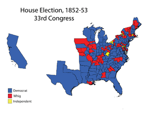 United States House of Representatives elections, 1852 - Image: House 033Election Map