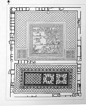 Paphos Archaeological Park - Plan of triclinium of the House of Aion