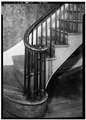 INTERIOR, STAIR, DETAIL OF NEWEL - Ezra Deane House, 21-23 Fayette Street, Cambridge, Middlesex County, MA HABS MASS,9-CAMB,44-4.tif