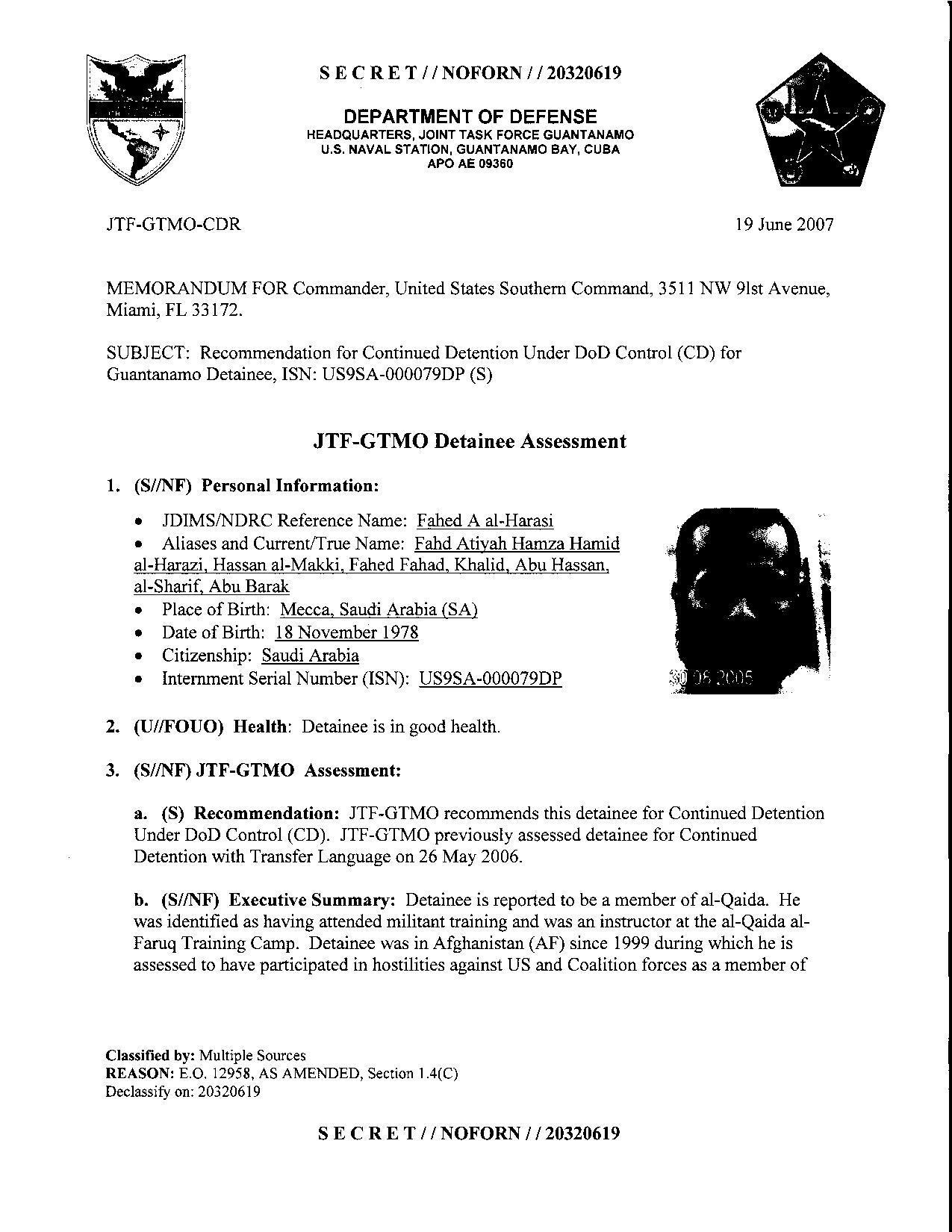 ISN 00079, Fahed A al-Harasi's Guantanamo detainee assessment.pdf