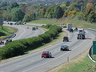 Interstate 81 - I-81 looking southbound near milepost 245 in Harrisonburg, Virginia.