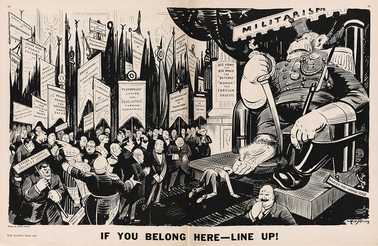 Caricatura de Art Young en la revista estadounidense The Masses, publicada en marzo de 1916, durante la Primera Guerra Mundial.