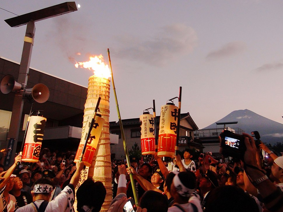 Ignition torches in the main street of Yoshida Fire Festival