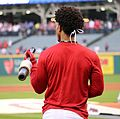 Indians shortstop Francisco Lindor warms up before World Series Game 6. (30632993081).jpg