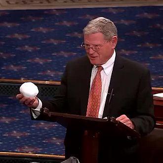 Jim Inhofe - Inhofe holding a snowball on the U.S. Senate floor.