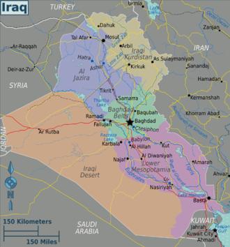 Wadi Hauran - Iraq regions map