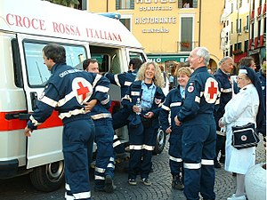 Italian Red Cross - A team with an ambulance