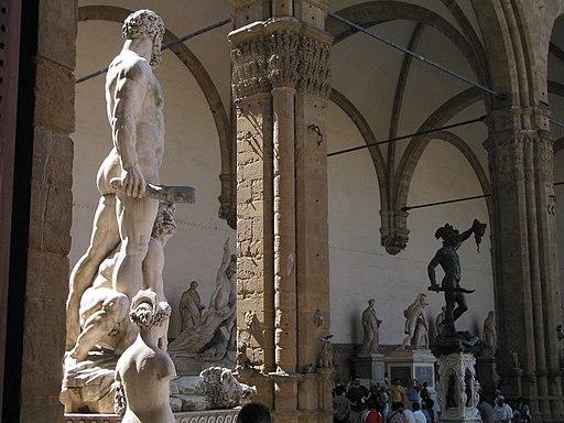 Hercules en Cacus (Baccio Bandinelli) en de Loggia dei Lanzi, Piazza della Signoria, Firenze