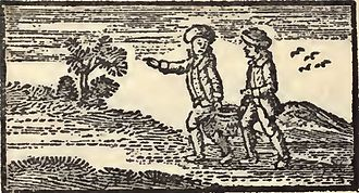 Jack and Jill (nursery rhyme) - Woodcut from the earliest surviving reprint of John Newbery's Mother Goose's Melodies (originally 1765, reprint 1791), showing Jack and Gill as boys