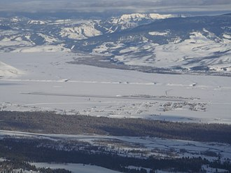 Jackson Hole Airport - Image: Jackson Hole Airport as seen from the aerial tram at Jackson Hole ski resort