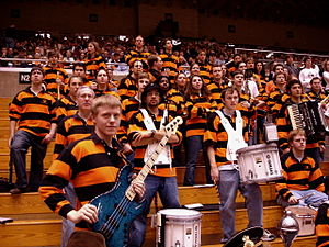 Princeton University Band - The band in its alternate uniform at a basketball game.