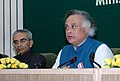 Jairam Ramesh addressing the media after conclusion of the National Conference of Ministers of Environment and Forests from States and UTs, in New Delhi on August 18, 2009.jpg