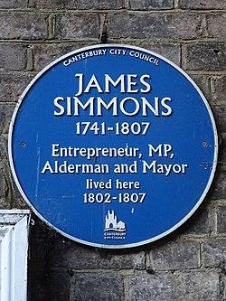 James simmons 1741 1807 entrepreneur mp alderman and mayor lived here 1802 1807