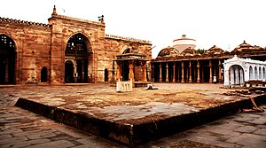 Gujarat under Delhi Sultanate - Jami Masjid in Cambay (now Khambhat), bulit in 1325 during Tughluq rule, marks the start of Islamic architecture in Gujarat.