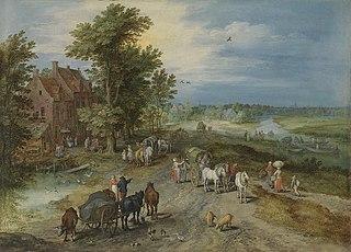 Landschaft mit Dorfschenke