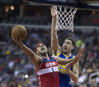 Klay Thompson - Thompson defending Jared Dudley from the Washington Wizards.