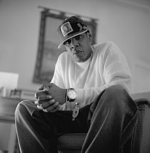 A black-and-white photograph of Jay-Z