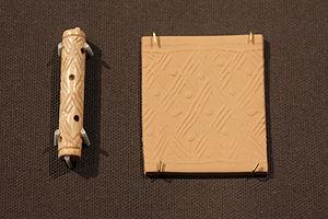 Khafajah - Cylinder seal found at Khafajah, Jemdet Nasr period, (3100–2900 BC)