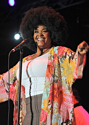 "Jill Scott - Scott performing as part of ""Jazz in the Gardens"" in March 2012"