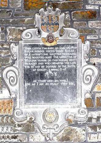 Hudscott - Mural monument to Joachim Rolle (died 1638), son-in-law to William I Venner, Chittlehampton Church, Devon