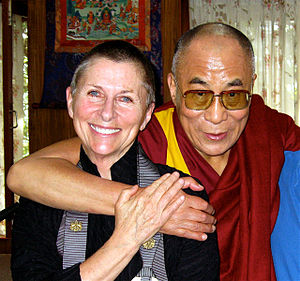 Joan Halifax with Tenzin Gyatso, the 14th Dala...