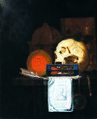 Joannes de Cordua - Vanitas still life with Rembrandt print, on the death of Ferdinand III.jpg