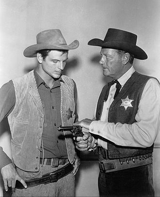 Jody McCrea - Jody McCrea (left) with father, Joel, in Wichita Town, 1959