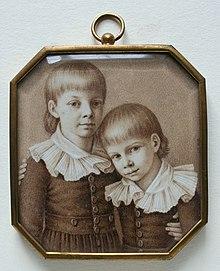 Friedrich Wilhelm mit seinem jüngeren Bruder Wilhelm 1803. Doppelporträt von Johann Heusinger (Quelle: Wikimedia)