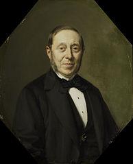 Portrait of Johannes Cornelis van Pappelendam (1810-1884). Artist and Art Dealer. Superintendent of the Van der Hoop Museum