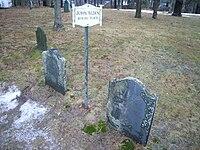 John Alden and Priscilla Alden grave in Miles Standish Burial Ground in Duxbury MA.JPG