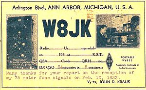 John D. Kraus - QSL card of John Kraus sent to shortwave listener, 1933