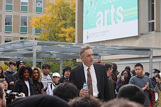 Jordan Peterson - Peterson speaking at a Free Speech Rally in October of 2016