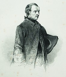 Three-quarter-length drawing of a middle aged man with hair pulled back, in a heavy coat with large cuffs.
